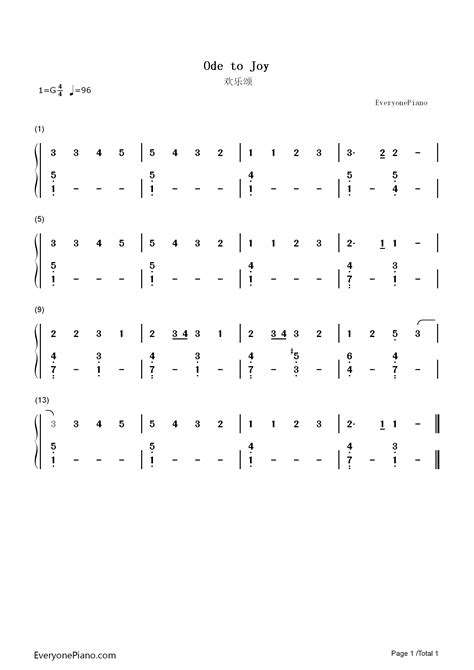 An die Freude-Ode to Joy Numbered Musical Notation Preview