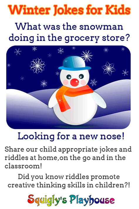 Cool Winter Jokes for Kids at Squigly's Playhouse